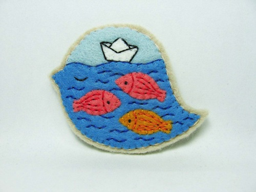 Giant Fish and a Paper Boat Brooch by Alina Bunaciu (Hand Embroidery)