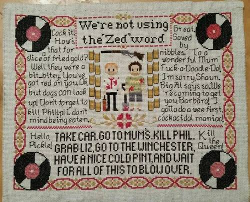 Erica Tattoo's Shaun of the Dead Cross Stitch Sampler