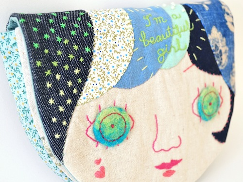 Applique Face Pouch by Doalittledance (Hand Embroidery)