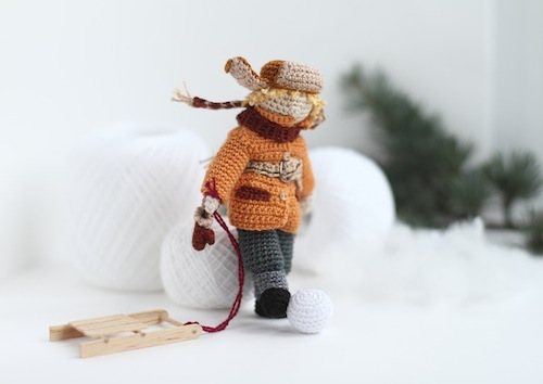 Boy with Sledge Art Doll by FancyKnittles (Crochet)