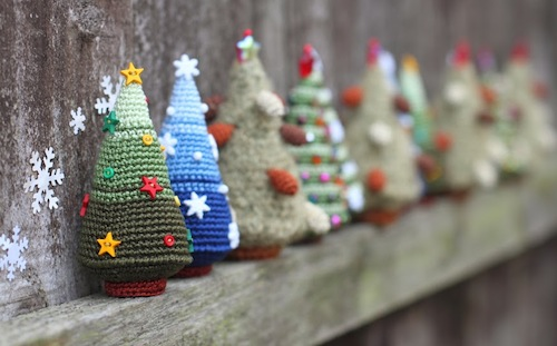 Miniature Christmas Trees by FancyKnittles (Crochet)