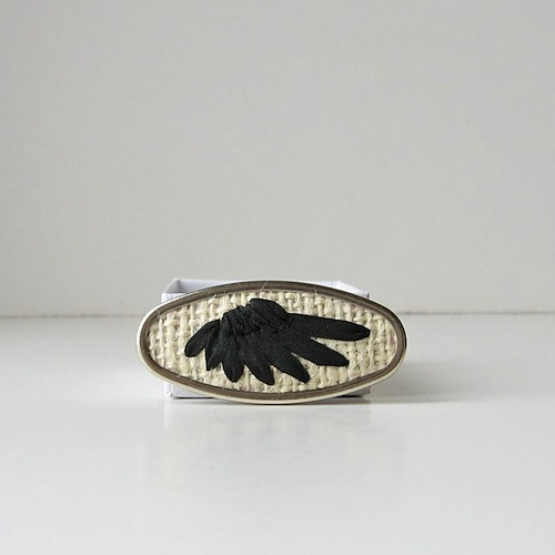 Black Wing Brooch by bstudio (Silk Ribbon Embroidery)