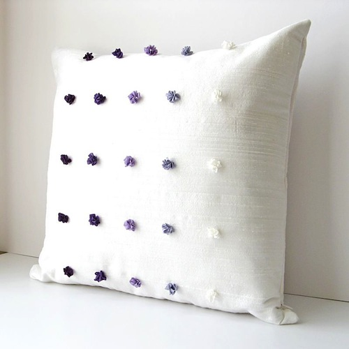 Purple Gradient Cushion Cover by bstudio (Silk Ribbon Embroidery)
