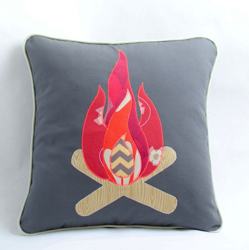Camp Fire Cushion by Minimanna (Machine Embroidery)