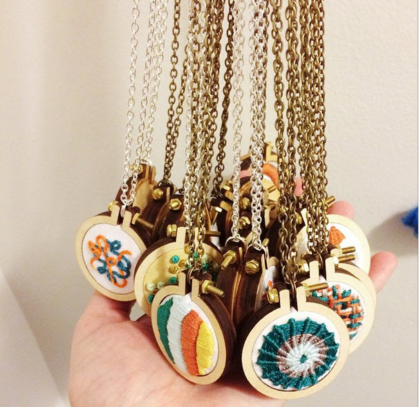 Too Cute Tuesday – Embroidered pendants by Hey Paul Studios