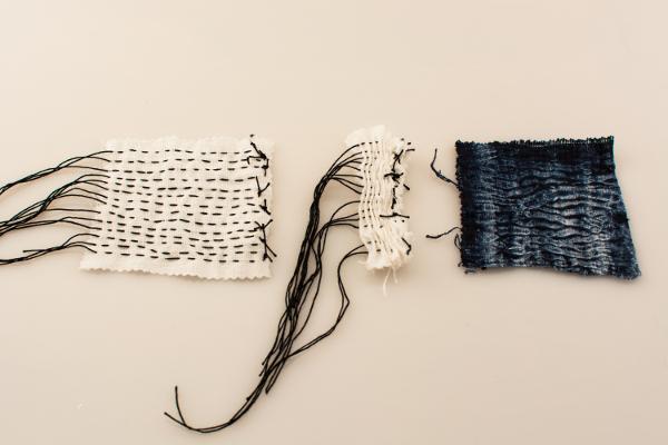 Running stitch, scrunch, dye.