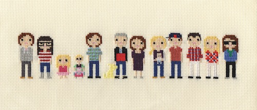 Extra Large Family Pixel Portrait by Scarlet Pyjamas (Hand Embroidery)