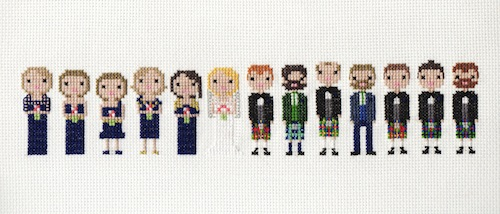Extra Large Wedding Pixel Portrait by Scarlet Pyjamas (Hand Embroidery)
