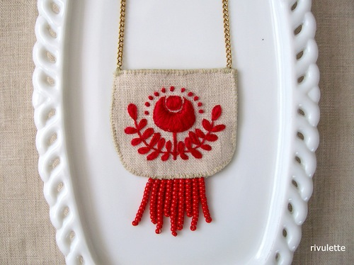 Red Folk Art Necklace by Rivulette (Hand Embroidery)