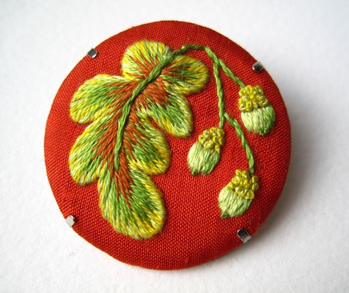 Oak Leaf and Acorns Brooch by Marg Dier Embroidery (Hand Embroidery)
