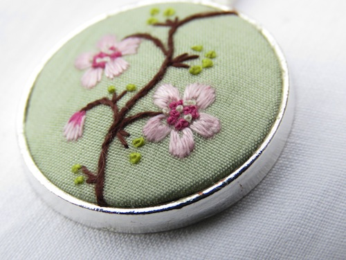 Cherry Blossom Branch Pendant by Marg Dier Embroidery (Hand Embroidery)