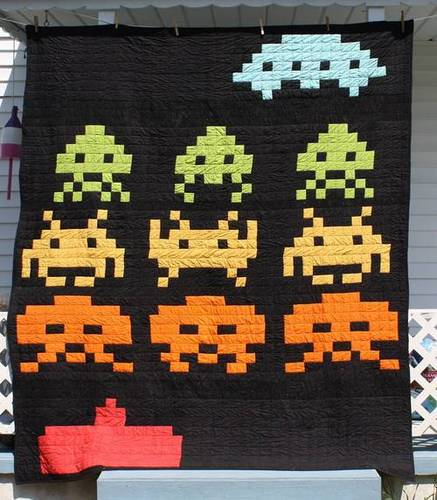 Mermonster's Space Invaders Quilt