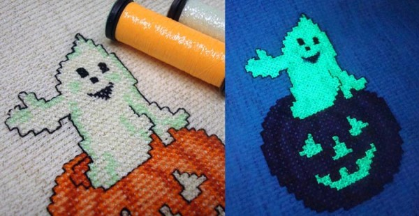 It's easy to make a stitched ghost glow: use a glow-in-the-dark thread.