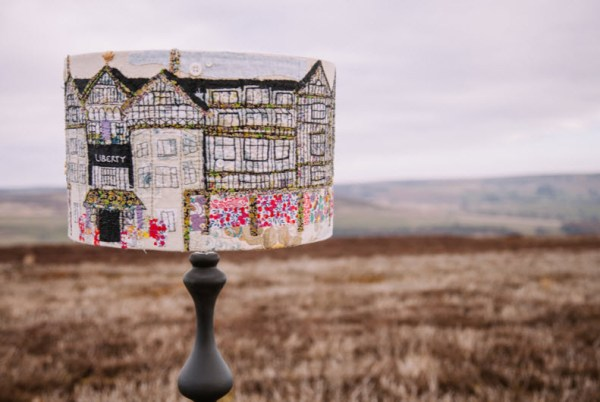 Liberty on the Moor, hand embroidered lamp shade, by Marna Lunt, 2014.
