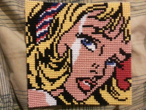 Roy Lichtenstein Girl with Hair Ribbon Cross Stitch by jlajulia