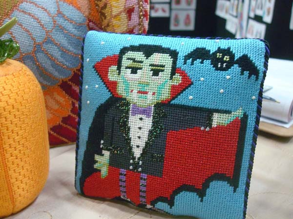 This fabulous needlepoint design by Labors Of Love is perfect for glow-in-the-dark elements such as the bat's eyes, stars in the sky, even dracula's face, eyes, and hands.