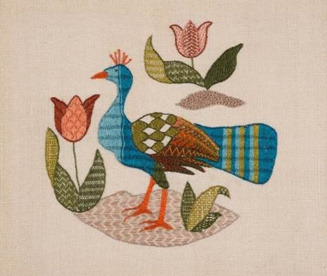 Small panel peacock with stylised leaves and tulips