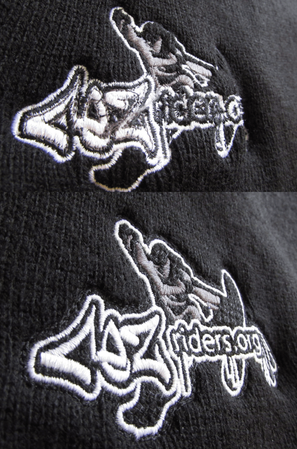 example showing good and bad samples of embroidery