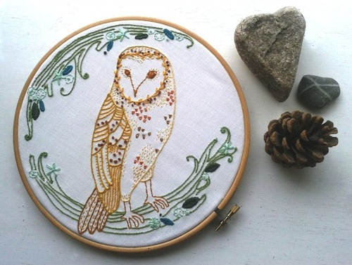 Barn Owl Embroidery Pattern by Jenny Blair Art (Hand Embroidery)