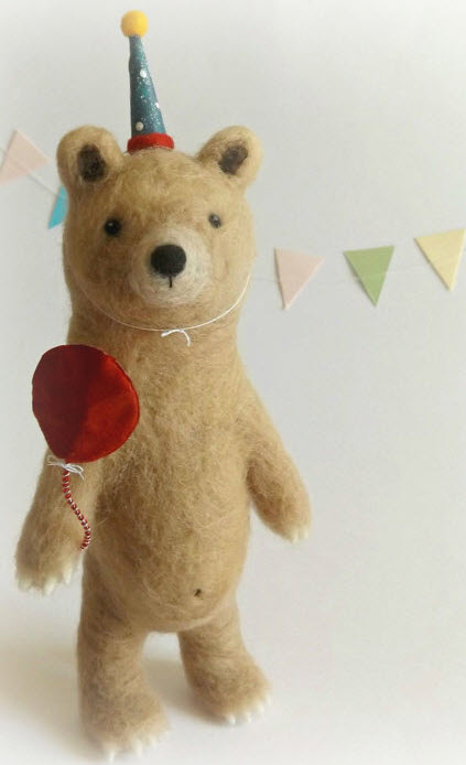 Needlefelted Party Bear, by Jessica Kathryn.