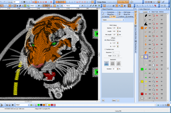 Digitizing a tiger for embroidery, showing settings on the right side of the image.