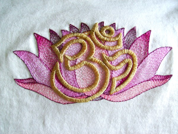 Lotus and Aum Tee-Shirt Embroidery by Erich Campbell