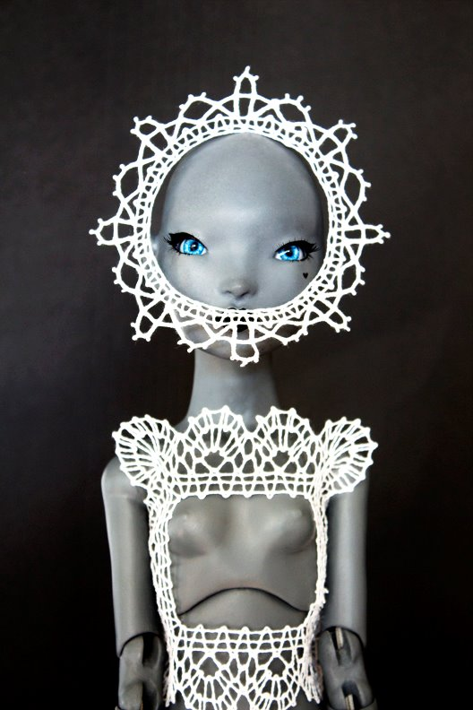Joshua David McKinney; Pidgin Doll wearing lace made by Elena Kanagy-Loux, November 2015 Photo Credit: Elena Kanagy-Loux