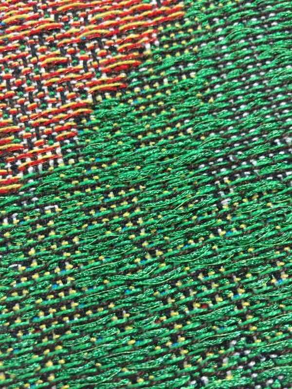 Keep your fibers nearby; they want to be used. Something fabulous will happen. Weaving with Kreinik metallic, by Trey Gehring.