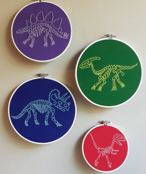 Too Cute Tuesday – Rainbow Dinos by Book Nerd Embroidery