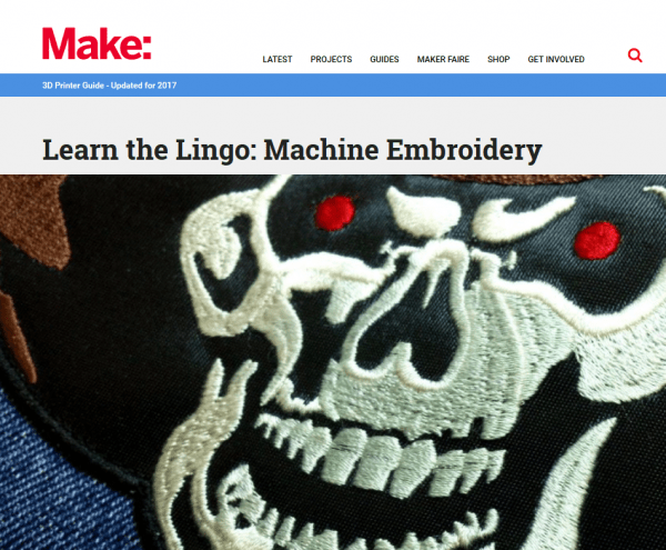 skull patch by Erich Campbell on the Make: Magazine lllog