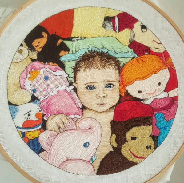 Too Cute Tuesday – Baby portrait by Lady Jane Longstitches