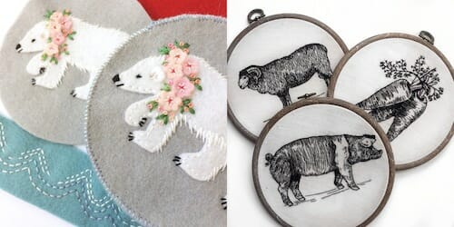 Exploring Etsy – Fabric And Ink and Tiny Hand Embroidery
