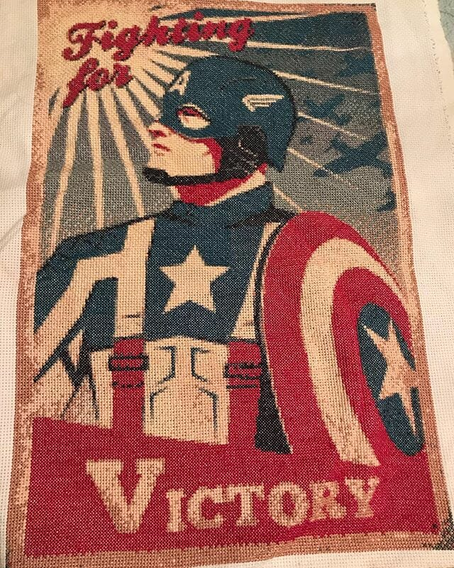 v for victory captain america cross stitch by thefandomstitcher