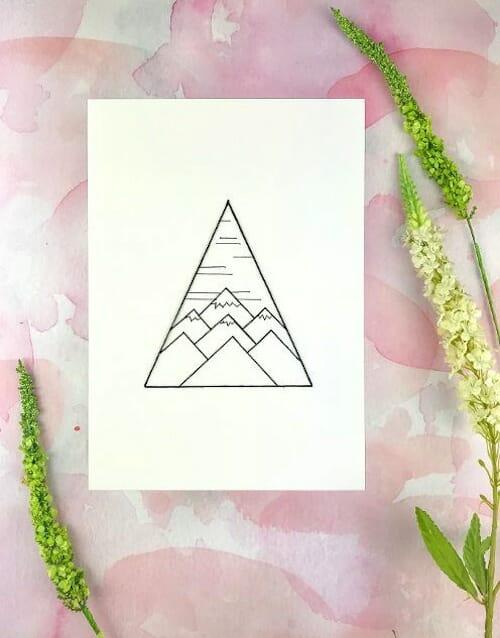 Pulp Stitchin' - Geometric Mountains Embroidery