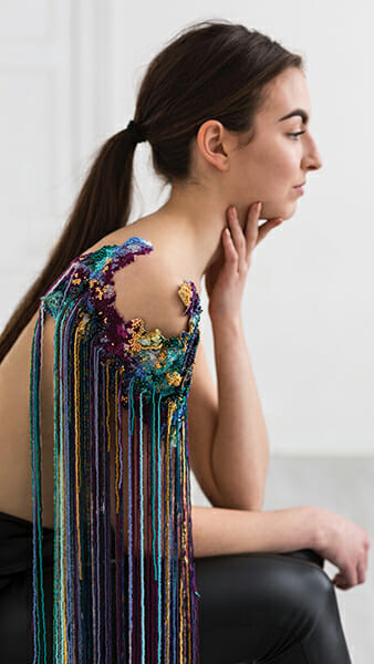 8 - The work of embroidery artist, Emma Wilkinson. Photography: Nina Shahroozi; Model: Brooke Mills