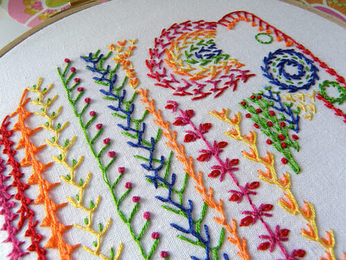Knotted feather stitch sampler for TAST2013