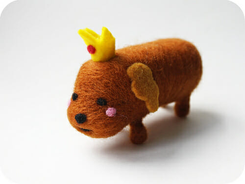 Hot Dog Princess Needle Felted Sculpture