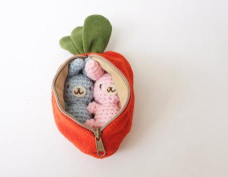 Crocheted Bunnies in Carrot Pouch