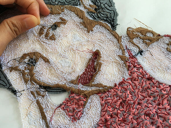 Portrait embroidery 3, in progress, by Silvia Perramon Rubio