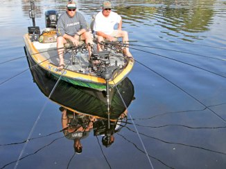 The slow, meticulous presentation of spider rigging allows anglers to tempt fish hiding in and around cover, like boat docks with surrounding brush.
