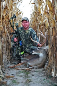 This hunter arrowed his buck as it moved between a stand of timber and this corn field.