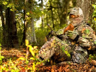 Ronnie Strickland always tries to incorporate a dense background into his setup on a gobbler, making sure the bird can't see too far past him.