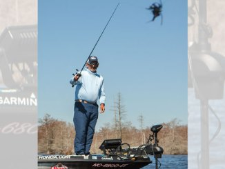 Paul Elias likes to fish a bladed jig in several different areas of the lake this time of year
