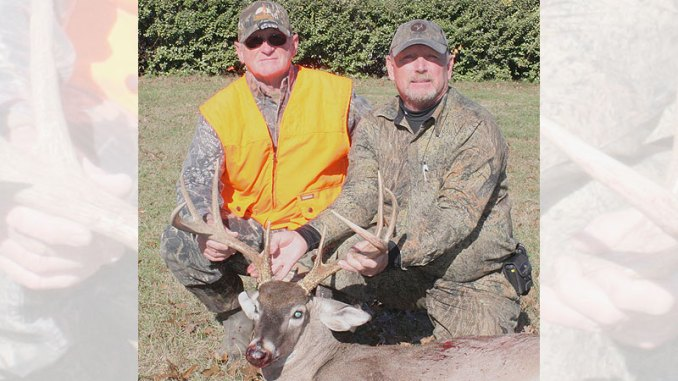 Two lucky hunters with a buck taken in 2018 during an archery draw hunt in the spillway area of Barnett Reservoir. The application process for the 2019-20 season is now open.