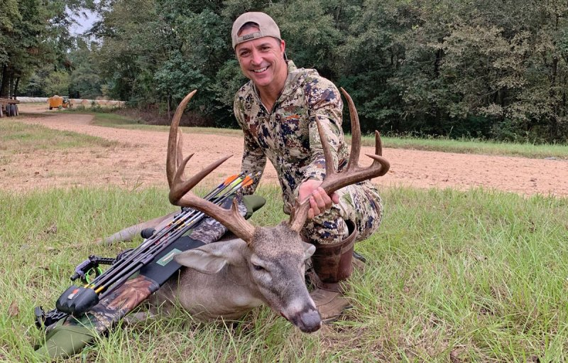 Chip Henderson killed the big buck the first time he hunted him, on the afternoon of Oct. 7 — the first time he got a needed north wind. (Photo by Chip Henderson)