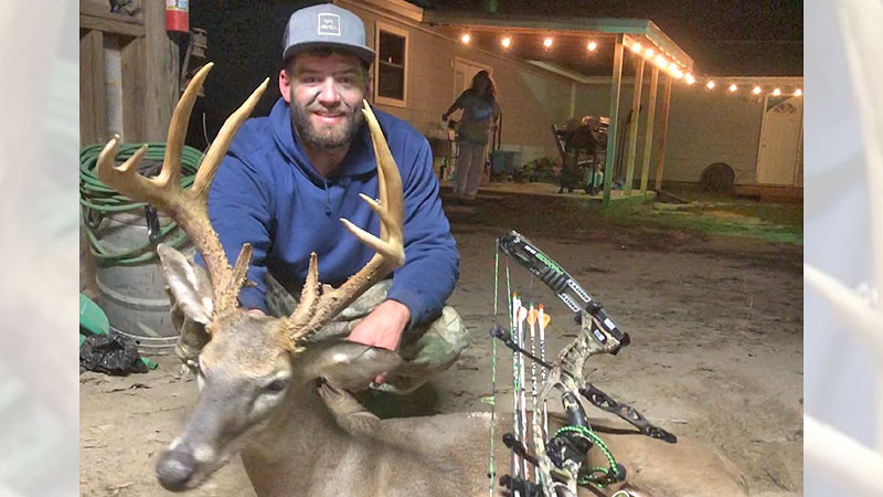 Kyle Carter took this 133-inch, tall and thick trophy buck in Stone County on public land at the Desoto National Forest.