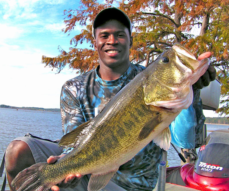 Many anglers are scared to fish a 12-inch plastic worm, but this bass that Sontus Mitchell caught on one thought it was a good snack.