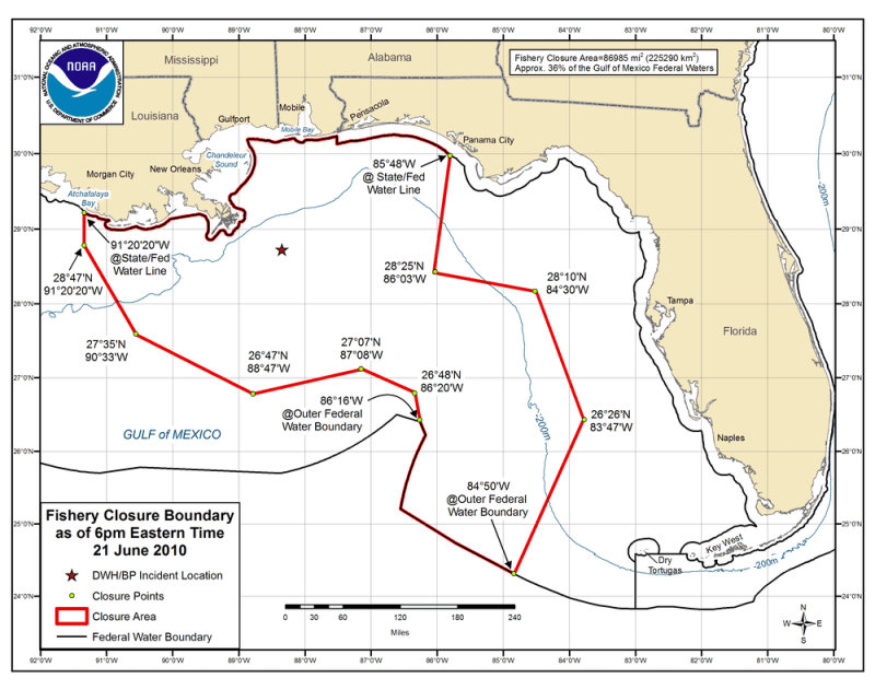 Fishery closures during the Deepwater Horizon oil spill, June 21, 2010. (Photo courtesy NOAA)