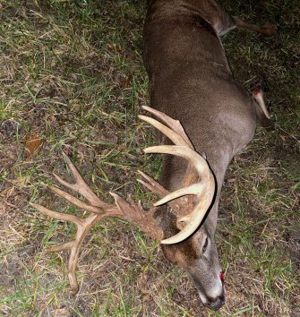 Thomas Lyons' big 20-point buck weighed 215 pounds.