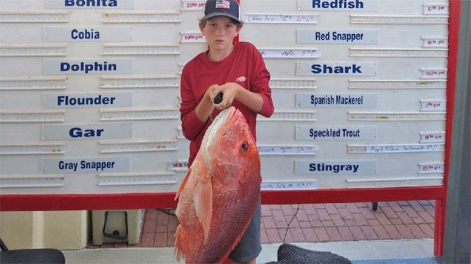 Mason Watts with his youth record red snapper. (Photo courtesy MDMR)